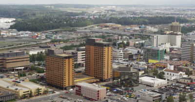 4K Aerial Alaska City Stock Footage
