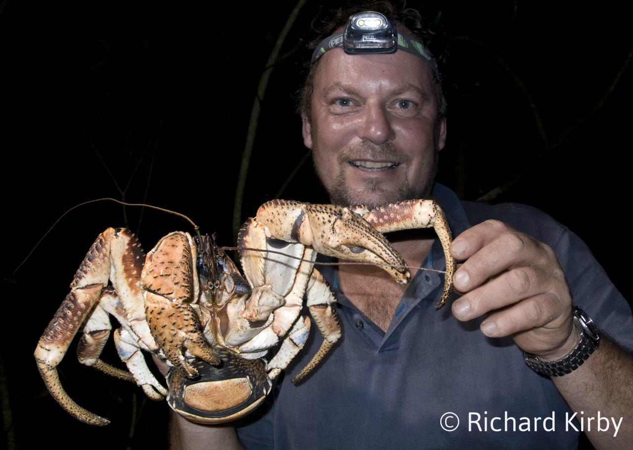 Richard Kirby with coconut crab, Zanzibar_wm
